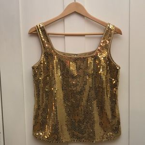 Liz Claiborne - Gold Sequin Holiday Top